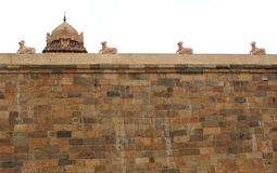 Temple wall with tower Royalty Free Stock Photos