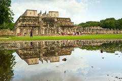Temple of the Warriors in Chichen Itza. CHICHEN ITZA, MEXICO - JULY 12: Uknown people visiting Temple of the Warriors in Chichen Itza   - one of 7 New World Stock Image