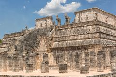 Temple of the warriors at Chichen Itza. Temple of the warriors at the Chichen Itza archaeological site in Mexico Royalty Free Stock Photo