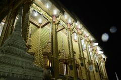 Thai temples are decorated by Thai pattern with gold. Temple was build in many years ago with unique Thai style architecture. Most of Thai temples are decorated Royalty Free Stock Image