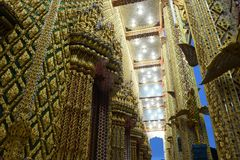 Thai temples are decorated by Thai pattern with gold color decoration. Temple was build in many years ago with unique Thai style architecture. Most of Thai Stock Images