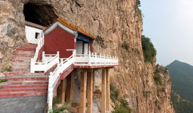 The temple was built in the cliff Royalty Free Stock Photo