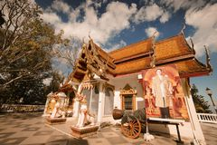 Temple of Wat Doi Inthanon in Chiang Mai, Thailand. December 2016. Editorial royalty free stock photography