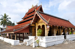 Temple at Wat Mai. Wat Mai in Luang Prabang,Laos.It is a UNESCO World Heritage Site royalty free stock image