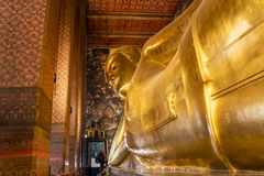 Temple of wat pho and his buddha lying bangkok thailand stock photography