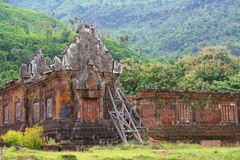 Buddhist temple ruins Wat Phu Angkor in the jungle, Champasak, Laos Royalty Free Stock Image