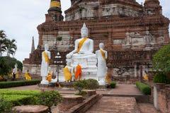 Temple Wat Yai Chai Mongkol à Ayutthaya ; La Thaïlande Images stock