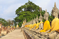 The temple of Wat Yai Chai Mongkol in Ayutthaya near Bangkok, Th Stock Image