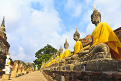 The temple of Wat Yai Chai Mongkol in Ayutthaya near Bangkok, Th Royalty Free Stock Images