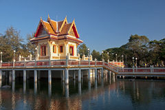 Temple on the water in Rayong Royalty Free Stock Photo