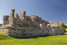 Temple of the Wind  in archaeological site Tulum, Mexico Royalty Free Stock Photography