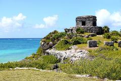 Temple of the Wind God in Tulum Stock Image