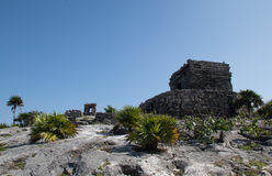 Temple of the Wind at Tulum Mayan ruins on Mexico's Caribbean coastline. Temple of the Wind at Tulum Mayan ruins on Mexico's Yucatan Peninsula Stock Photo