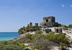 Temple of the Wind in Tulum Mexico. The Mayan ruins of the Temple of the Wind in Tulum Mexico.  Tulum is located in the Yucatan Peninsula Royalty Free Stock Images
