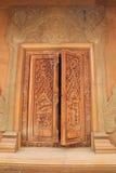 Temple window. At Wat maha wana ram, Ubon Ratchathani, Thailand stock images
