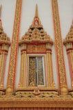 Temple window. At Wat sa kam phaeng yai, Uthumphon Phisai, Sisaket Province stock photography