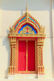 Temple window. Wood with thai architecture and painting stock image