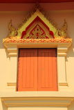 Temple window. Temple wood window with thai paint stock images