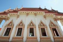 Temple windows. Buddha church windows and clear sky Royalty Free Stock Photos