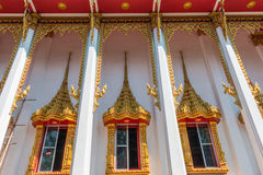 Temple windows vintage Thai style Royalty Free Stock Images