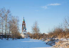 Temple winter Yuryev-Polsky. Temple in St. George`s, Polish winter in the snow stock images