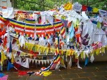 Temple worship. Prayer flags Royalty Free Stock Photo