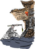 Temple and wushu. A temple and wushu in the china Royalty Free Stock Photo