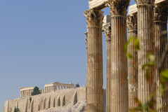 Temple of Zeus and Acropolis Royalty Free Stock Image