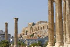 Temple of Zeus and Acropolis Royalty Free Stock Photos