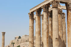 Temple of Zeus and Acropolis in Athens. Greece Stock Photos