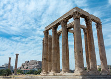 Temple of Zeus with Acropolis Stock Photography