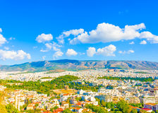 The Temple of Zeus. Aerial view of the Temple of Olympian Zeus from Acropolis in Athens Greece Royalty Free Stock Photography