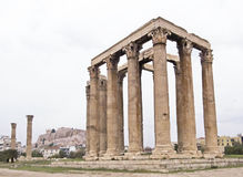 The Temple of Zeus, Athens, Greece. The Parthenon is visible in the background Royalty Free Stock Photography