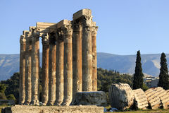 Temple of Zeus. The Temple of Zeus in Athens, Greece Stock Image