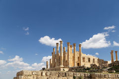 Temple of Zeus, Jordanian city of Jerash  (Gerasa of Antiquity) Royalty Free Stock Photo