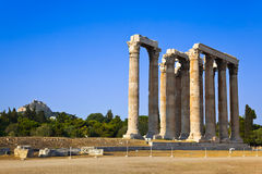 Temple of Zeus and Lycabettus hill at Athens stock images