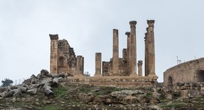 Temple of Zeus near South Gate in the ruins of the great Roman city of Jerash - Gerasa, destroyed by an earthquake in 749 AD, loca. Jerash, Jordan, December 08 stock photo