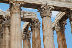 Temple of Zeus Olympia. Detailed look at the columns of Temple of Zeus Stock Photos