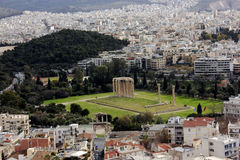 Temple of Zeus panorama. A aerial view of the temple of Zeus from Acropolis royalty free stock photography
