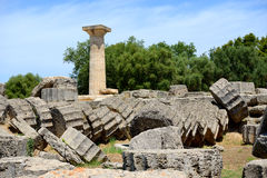 The Temple of Zeus ruins in ancient Olympia Stock Images