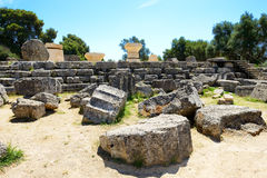 The Temple of Zeus ruins in ancient Olympia Stock Photos