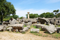 The Temple of Zeus ruins in ancient Olympia Royalty Free Stock Photography