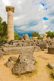 The Temple of Zeus ruins in ancient Olympia, Peloponnes, Greece Royalty Free Stock Images