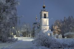 Temple, cathedral, cross, Orthodoxy, icons, dome, winter, snow stock image