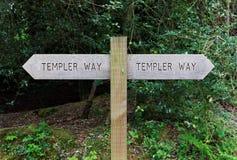 Templer sposobu Drewniana Szyldowa poczta, Dartmoor, Anglia Zdjęcie Royalty Free