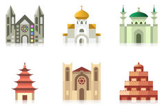 Temples. Icon collection of temples of world religions Royalty Free Stock Image