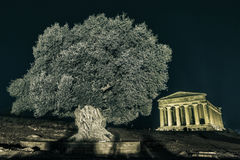 Temples in Agrigento night in Sicily - Italy Stock Photography