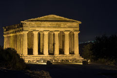 Temples in Agrigento night in Sicily - Italy Stock Images