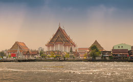 Temples along the   Chao Phraya river Royalty Free Stock Photography