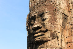 Temples of Angkor - Faces of Bayon temple Stock Photo